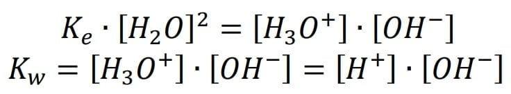 Constante del producto iónico del agua a una temperatura promedio de 25°C.